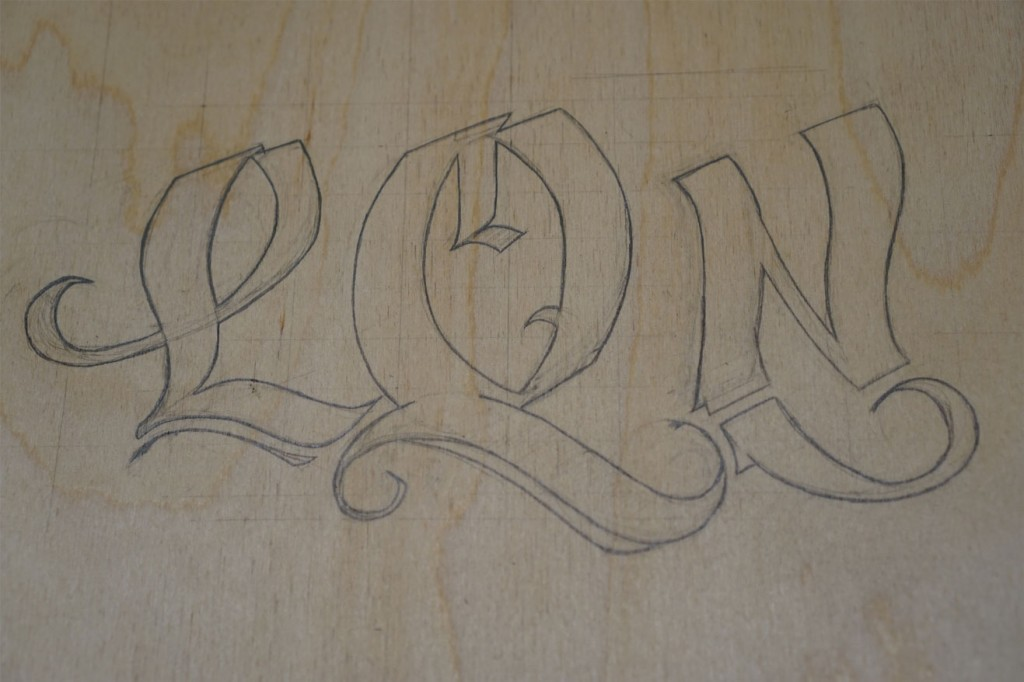 Initials sketched onto Jewelry Box