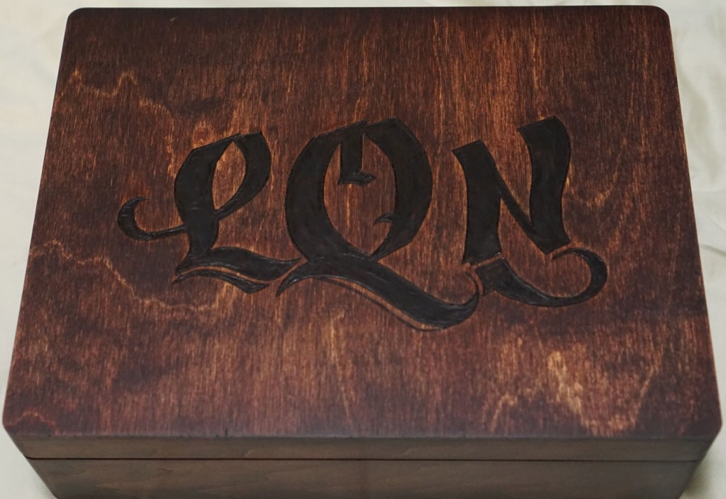 Initials woodburned onto Stained Jewelry Box